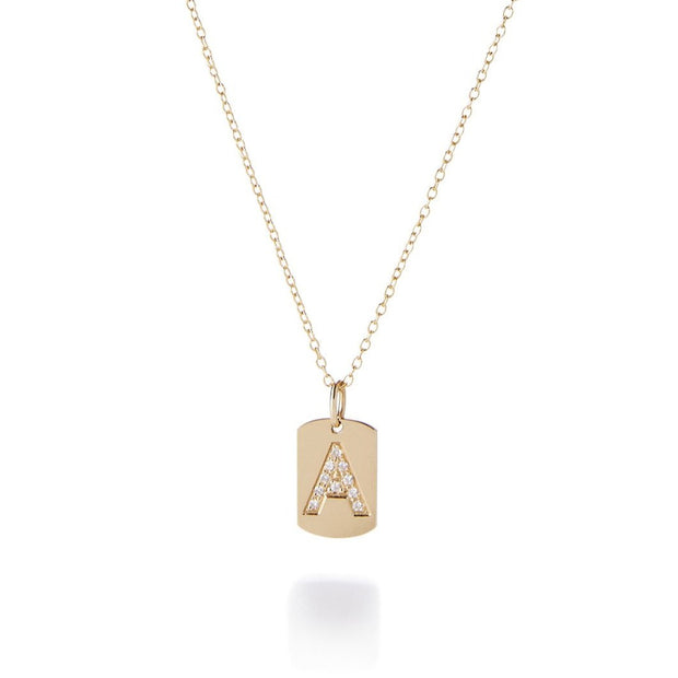 Personalized 14k Gold + Diamond Initial Dog Tag Necklace