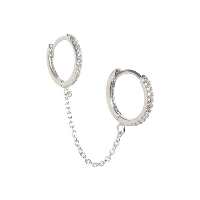 CZ Double Chain Silver Huggie Earring