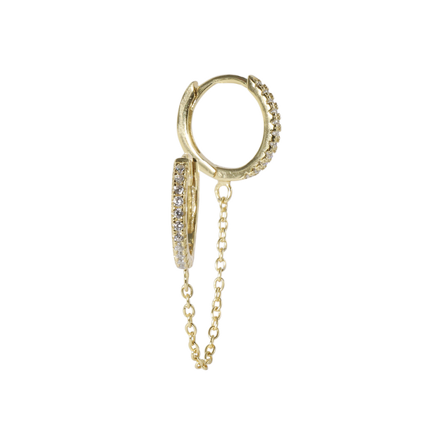 CZ Double Chain Gold Huggie Earring