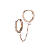 CZ Double Chain Rose Gold Huggie Earring