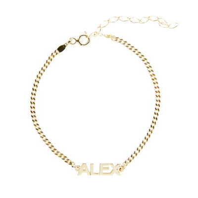 14K Gold Block Letter Name Bracelet