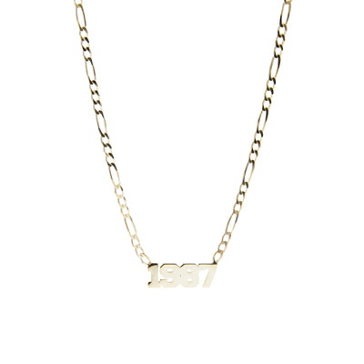 Date on Figaro Chain Necklace