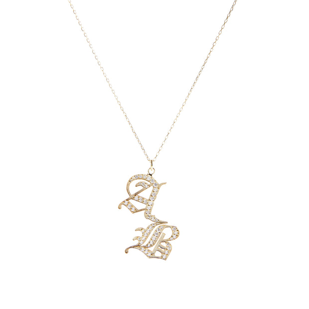14K + Diamond Gothic Double Letter Necklace
