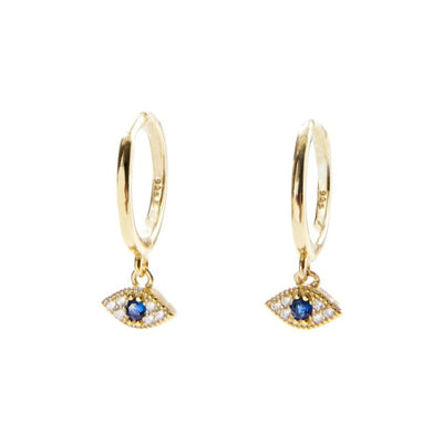 Gold Evil Eye Huggie Earring