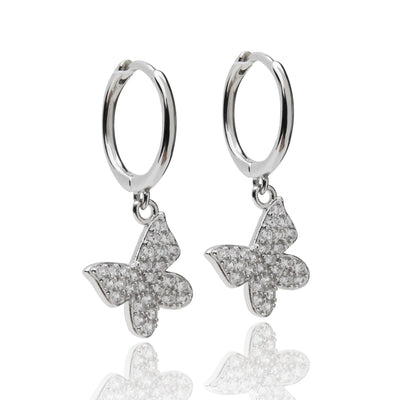 Butterfly Huggie Earrings, Silver
