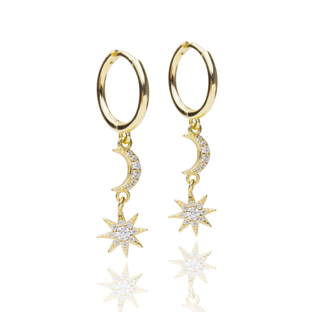 Star + Moon Huggie Earrings