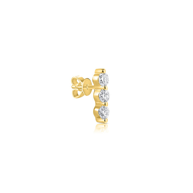 Diamond 3 Stone Bar Earrings