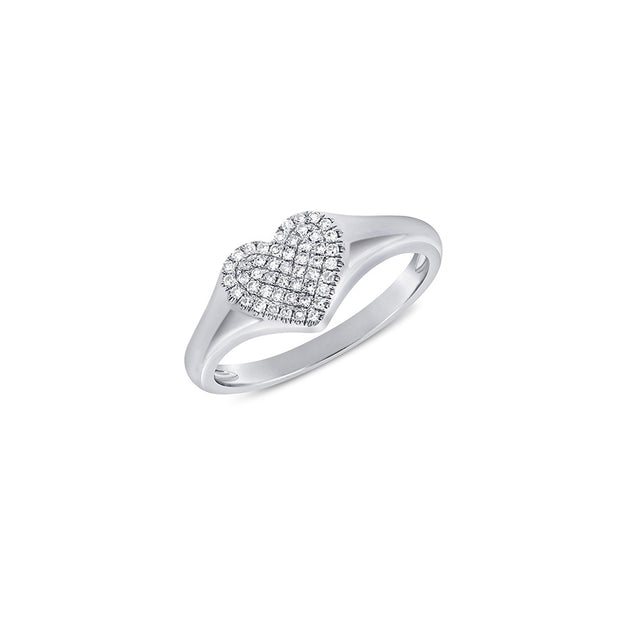 Pave Diamond Heart Signet Ring