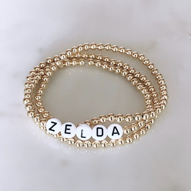 Custom Name Bracelet Set - white
