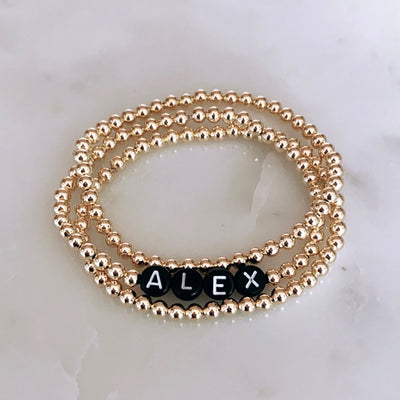 Custom Name Bracelet Set - Black