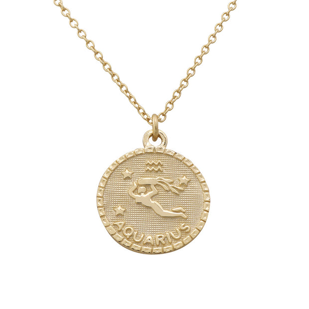Aquarius Zodiac Coin Necklace