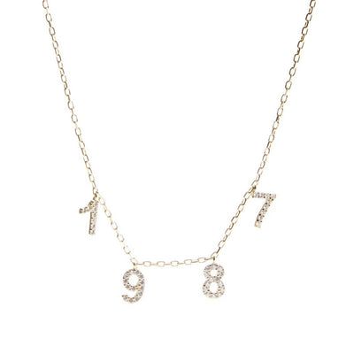 14K Gold + Diamond Numerical Necklace