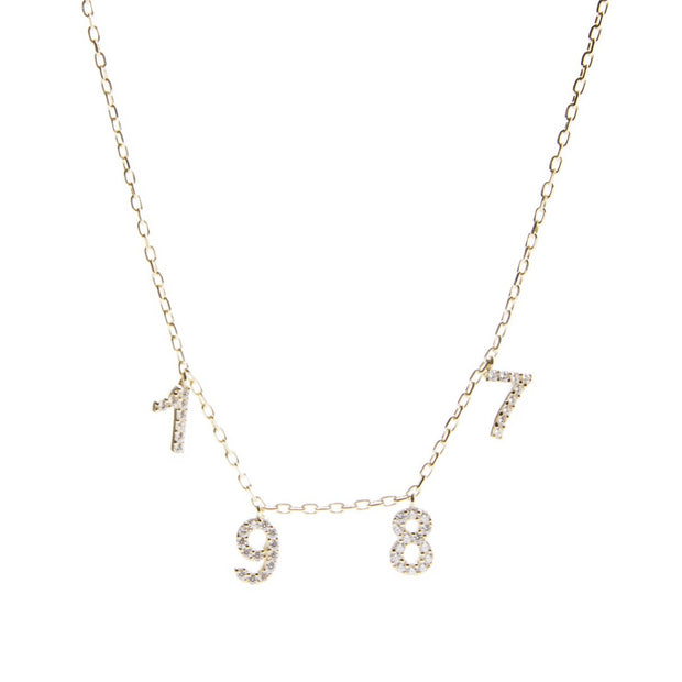 14K Gold + Diamond Brthdate Necklace