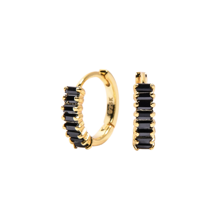 Black Baguette Gold Huggie Earring