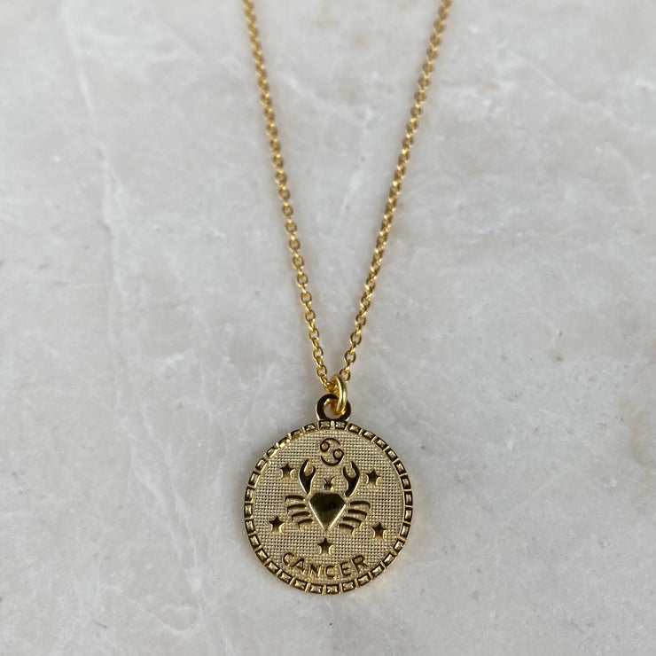 Cancer Zodiac Coin Necklace