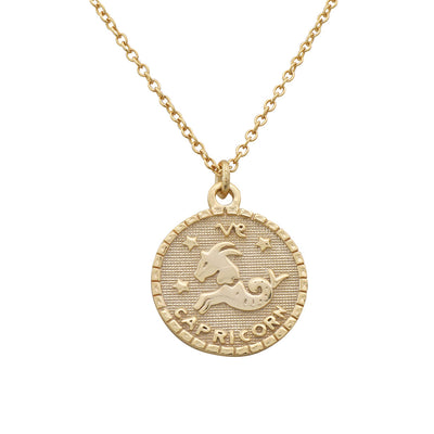 Capricorn Zodiac Coin Necklace