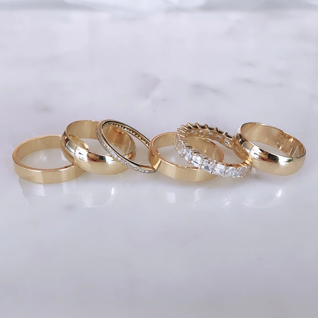 Dome Cigar Band + Eternity Ring Set