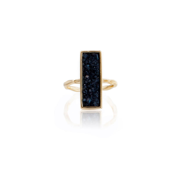 Rectangle Druzy Quartz Ring