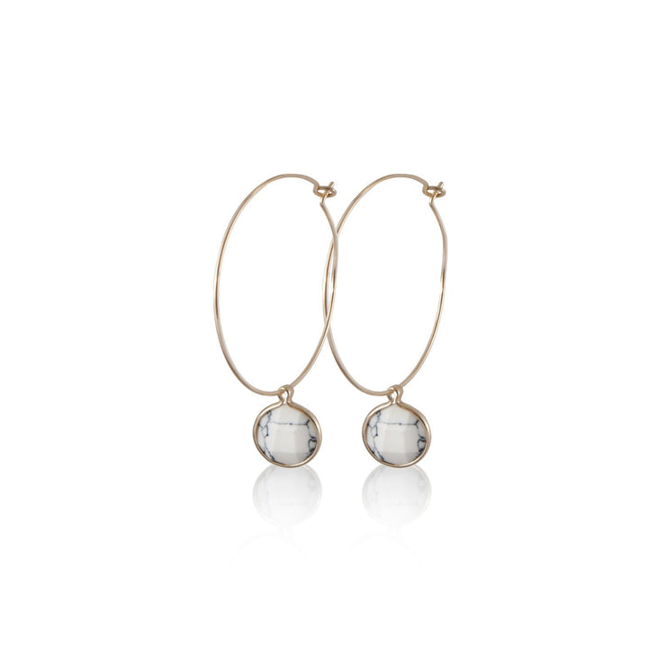 Hoops with Marble Charm