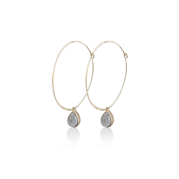Hoops with Druzy Charm