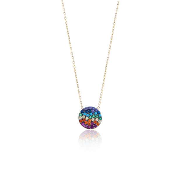 Rainbow Pave Disc Necklace