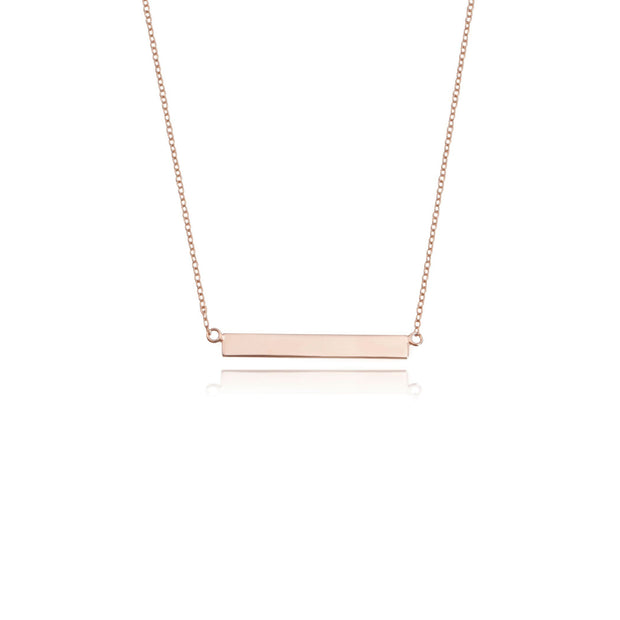 Rose Gold Vermeil Engraved Bar Necklace