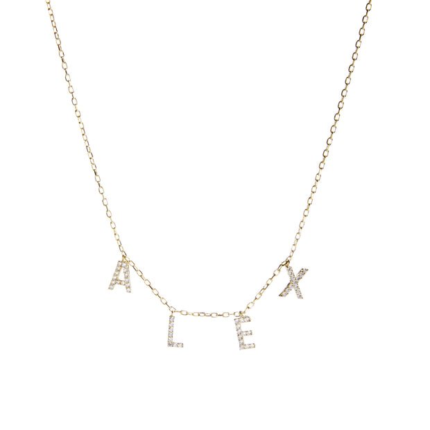 14K Gold + Diamond Hanging Letter Necklace