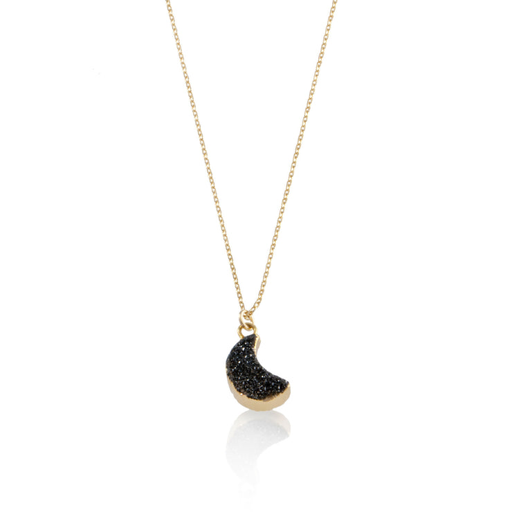 Druzy Quartz Moon Necklace