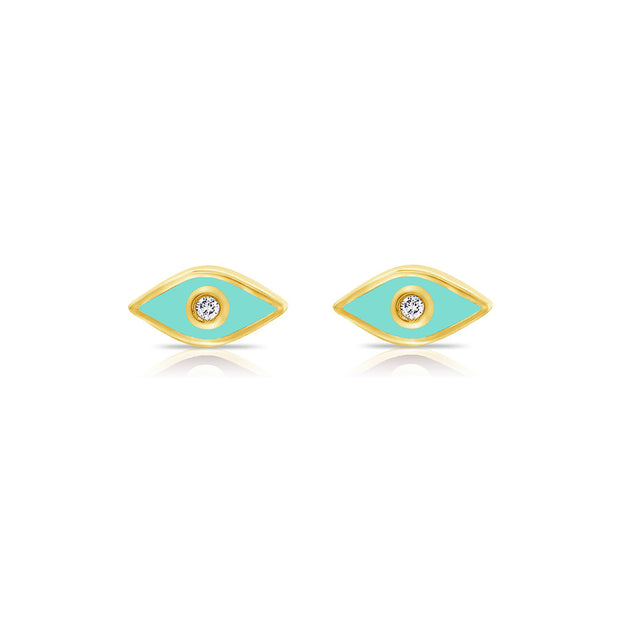 14K Gold Enamel Evil Eye Stud Earrings
