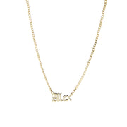 14K Gold Gothic Nameplate Necklace