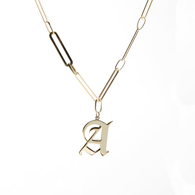 Gothic Letter on Paper Clip Chain Necklace