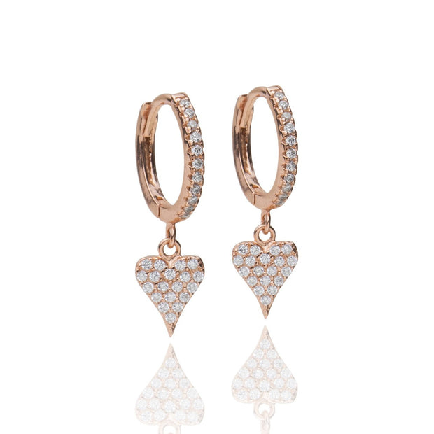 Heart Huggie Earrings, Rose Gold