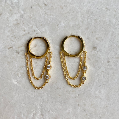 Huggie Earrings with Chains