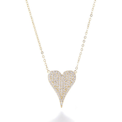 Medium Pave CZ Heart Necklace