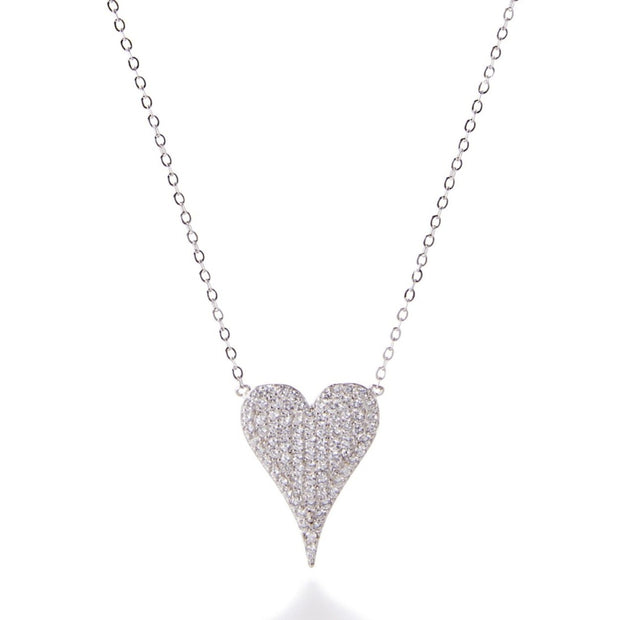 Large Pave CZ Heart Necklace