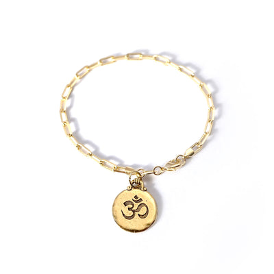 Om Charm PaperClip Chain Bracelet