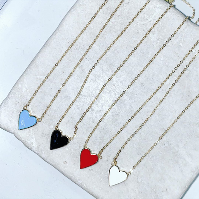 Colored Enamel Heart Necklace