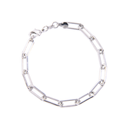 Chunky Paper Clip Chain Bracelet, Silver