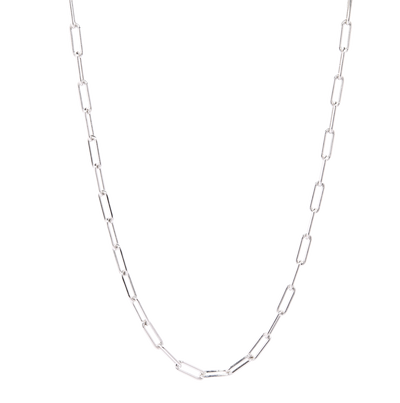 Chunky Paper Clip Chain Choker Necklace, Silver