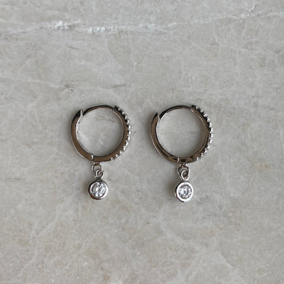 Silver Huggies with CZ Charm