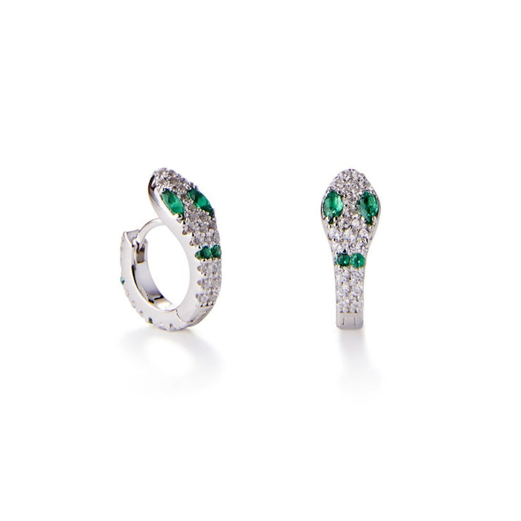 Green Snake Huggie Earrings