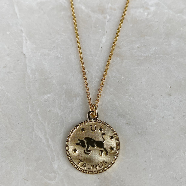 Taurus Zodiac Coin Necklace