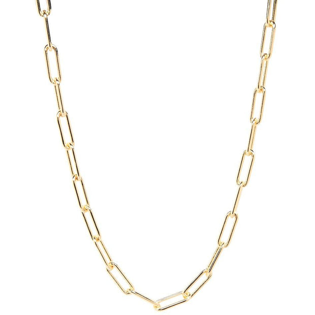 Chunky Paper Clip Chain Choker Necklace, Gold
