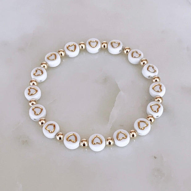 Gold Hearts All Around Bracelet