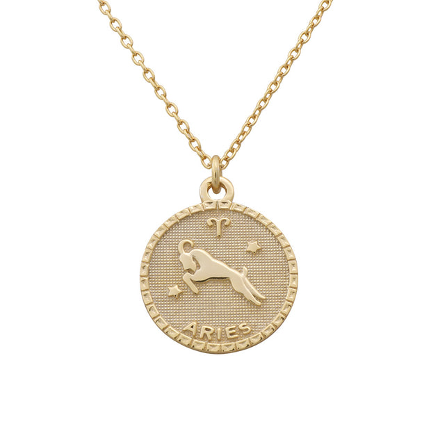 Aries Zodiac Coin Necklace