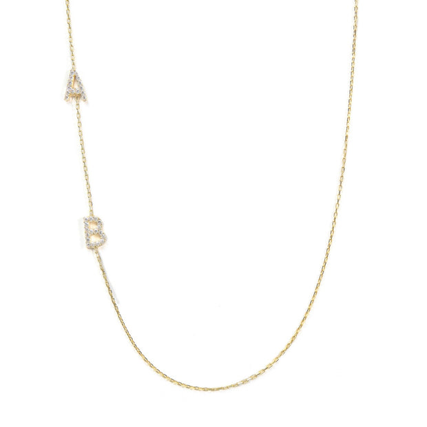 Diamond Asymmetrical Double Initial Necklace