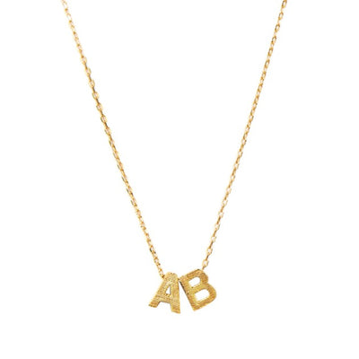 Double Block Letter Initial Necklace
