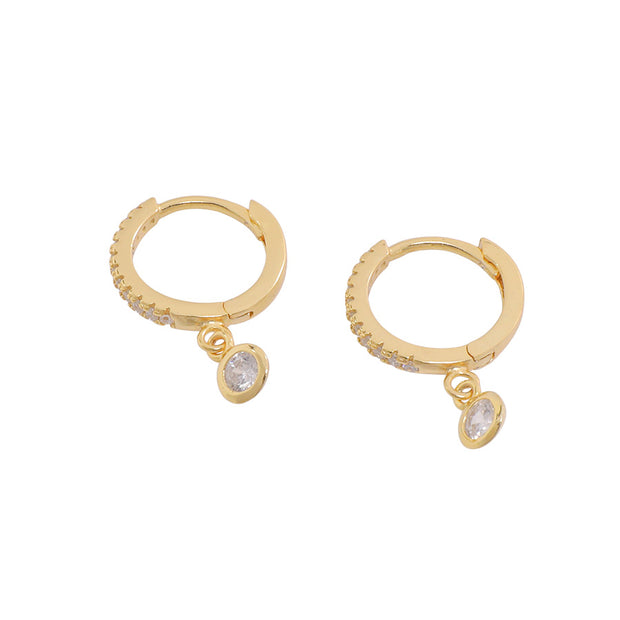 Gold Huggies with CZ Charm