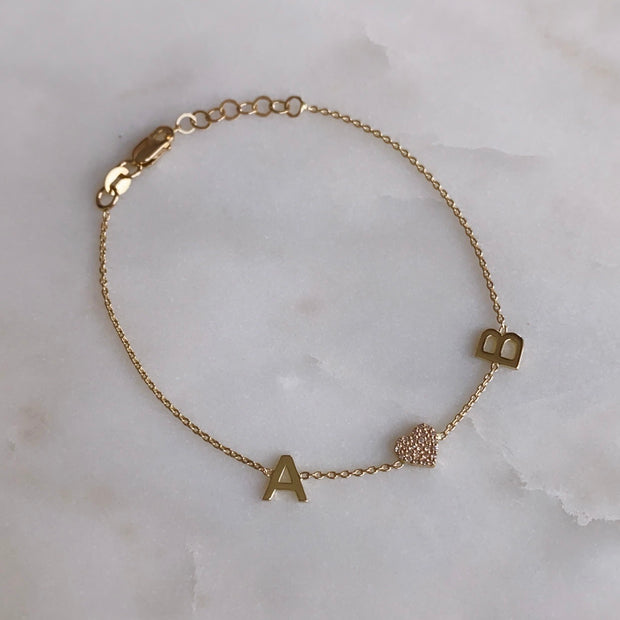 14K Gold + Diamond Double Letter Heart Bracelet