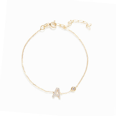 14K Gold + Diamond Initial Bracelet with Bezel-set Diamond